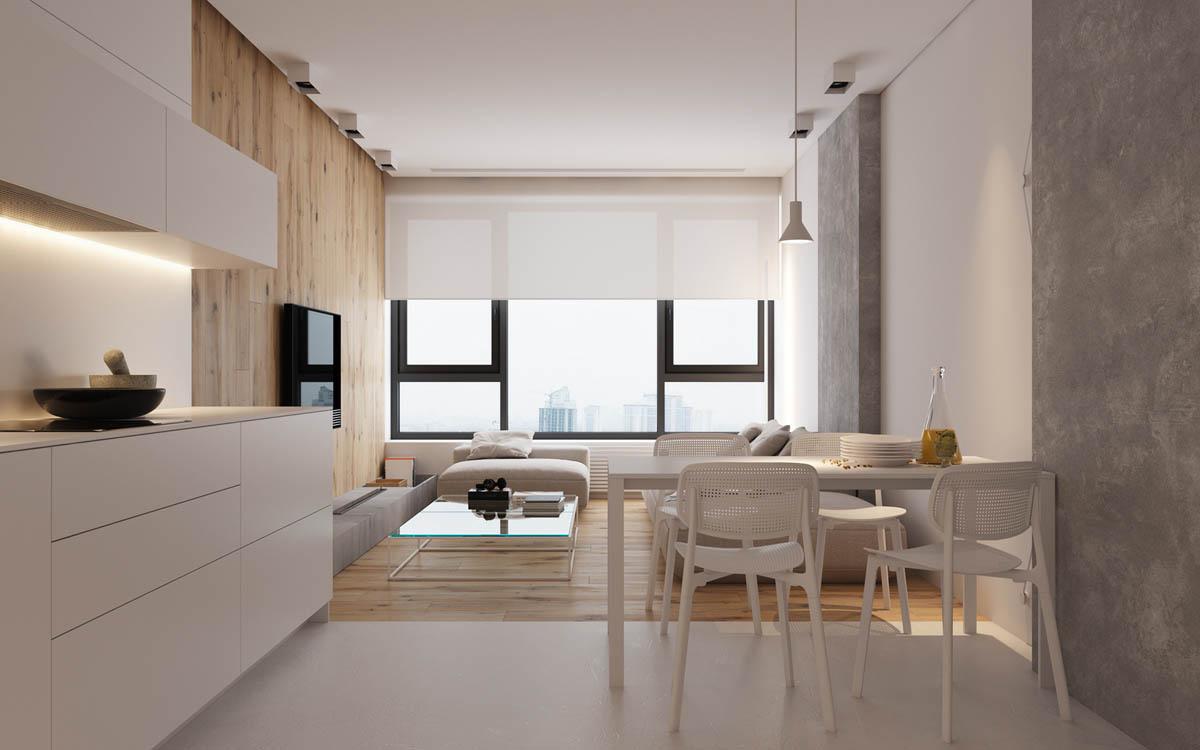[装修案例]66平米小户型一室一厅极简现代风格效果图 原木水泥的宜家风